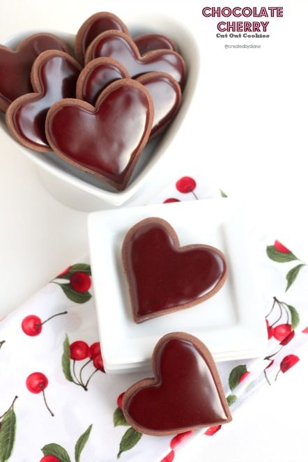 chocolate Cherry Cut Out Cookies @createdbydiane #cookies #valentine