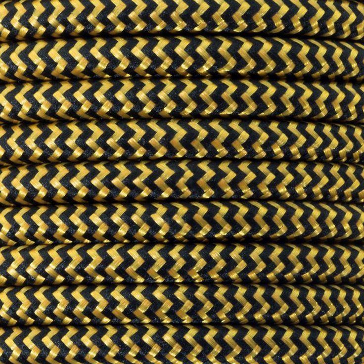 Comprar | Cable textil decorativo negro y dorado seda | Comprar cables textiles eléctricos decorativos de colores  #lamparas #decoracion #iluminacion #accesorioslamparas #cablesdecolores #accesoriosiluminacion