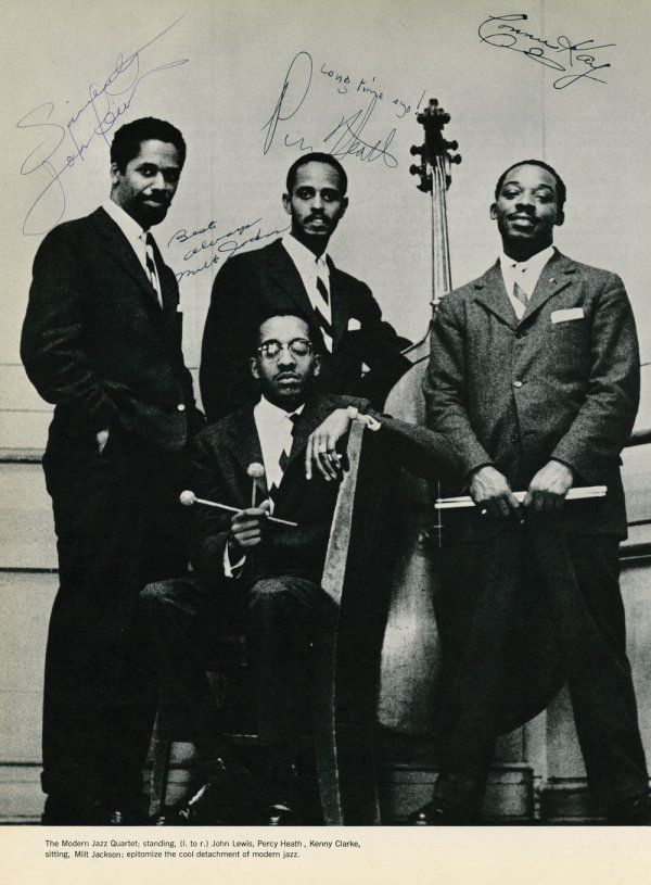 Modern Jazz Quartet pic signed by Percy Heath, Milt Jackson, Connie Kay (not in photo) and John Lewis. Kenny Clarke was the original MJQ drummer for two years before Connie Kay.