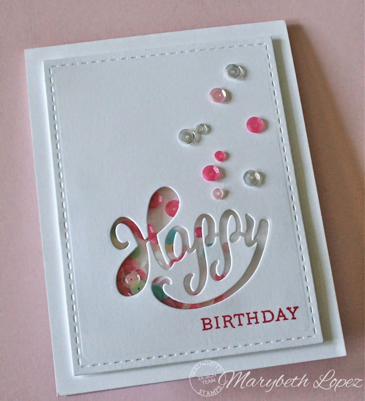 """This card is the embodiment of that """"happy place"""" you want to go to where everything is made of whipped white frosting and pretty sprinkles! Ah. By Marybeth's time for paper"""