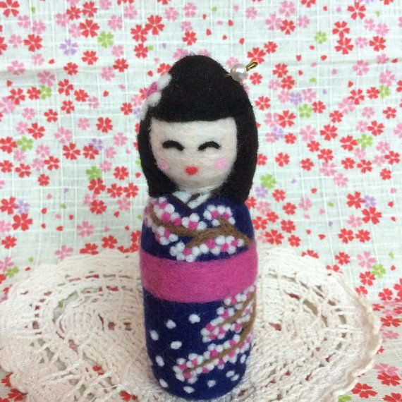 Japanese style girl kokeshi doll with sakura kimono by SweetPeaDolls