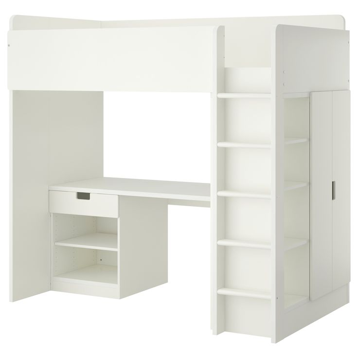 IKEA - STUVA, Loft bed with 1 drawer/2 doors, white, , You can assemble the desk parallel, perpendicular, or complete with 2 ADILS legs for a free-standing desk.