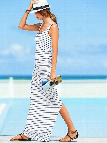 Simple white-navy blue striped summer maxi dress 2013 from Victoria's secret  #summerdress #summer2013 #sundress