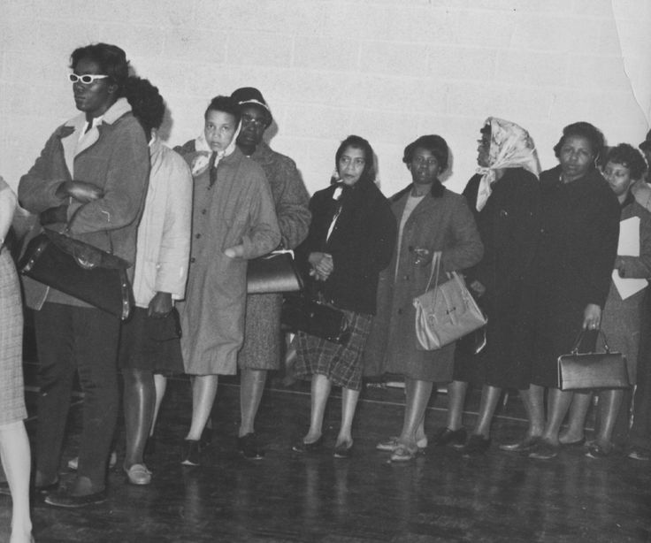 Women line up in Baltimore to vote in the 1964 election. The Civil Rights Act, which included greater protection for black voters, was passed three months later.