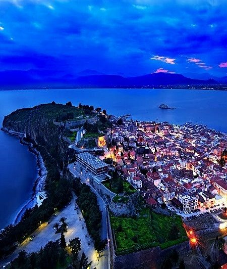 Nafplio town at dusk, Peloponnese, Greece