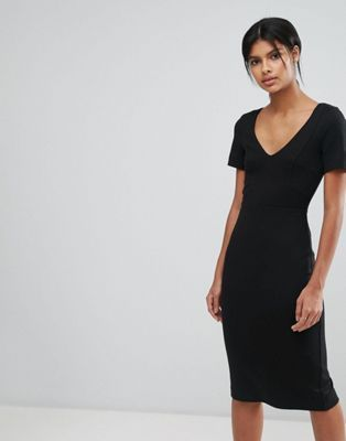 French Connection Lula Stretch V Neck Dress