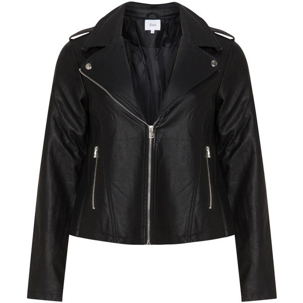Zizzi Black Plus Size Faux leather biker jacket ($73) ❤ liked on Polyvore featuring outerwear, jackets, black, plus size, faux leather biker jacket, faux leather moto jacket, fleece-lined jackets, zip up jackets and biker jackets