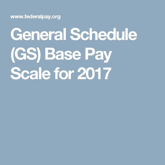 General Schedule (GS) Base Pay Scale for 2017