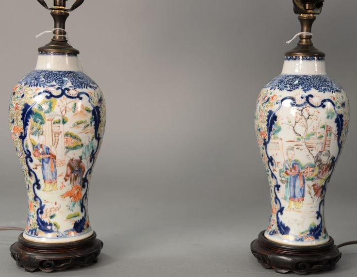 Pair of Oriental porcelain small baluster vases made into lamp having two panels, each painted with Guanyin and courtyard scene, made into table lamps.