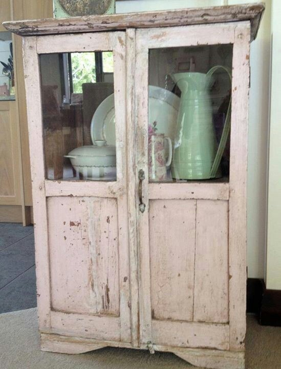 Pink vintage cupboard, would love for the office