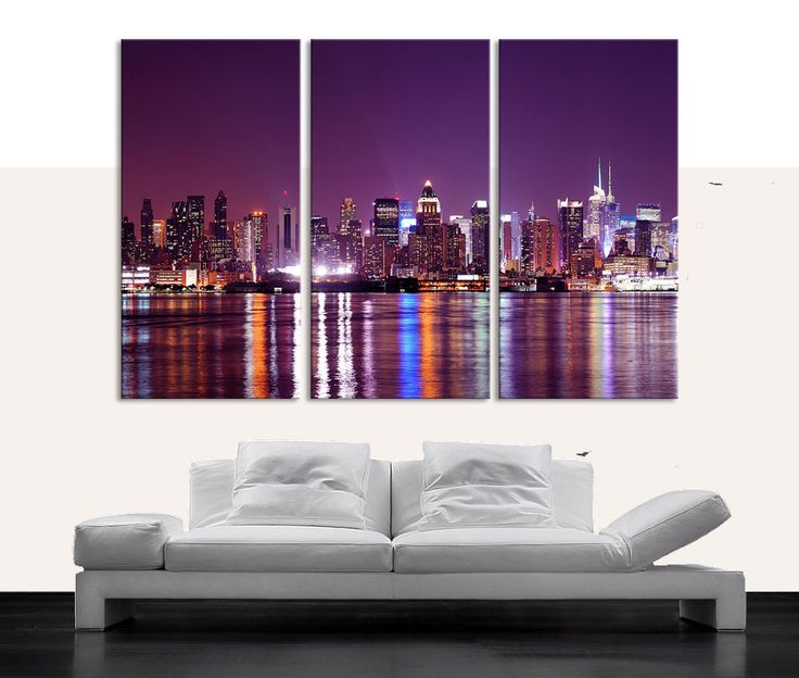 Wall Canvas Art large wall art canvas print new jersey city night skyline 3 piece