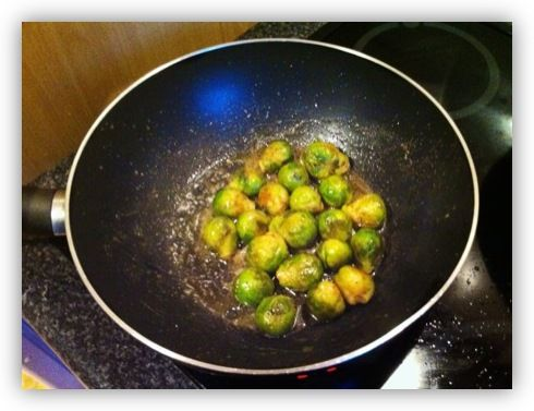 fry frozen brussel sprouts, FOR REAL THO: just made them with turmeric, cayenne pepper, salt, and pepper, delish.