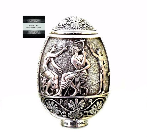 HELLENIC WRESTLING ORACLES. Handmade Silver Art Objects. Collectible Souvenirs. Ancient Greek Art. Handmade Silver Egg.