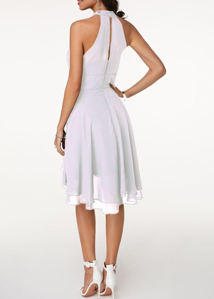 High Waist Sleeveless Asymmetric Hem White Dress | Rotita ...