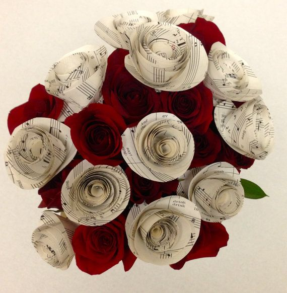 Sheet Music Paper Flowers with Stems / Paper by awedbysplendor, $12.00