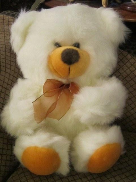 Stuffed Animal White Teddy Bear w Bow Plush Toy Vintage Retro England