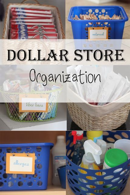 Dollar Store Organization ideas- pantry, bathroom, medicine cabinet, cleaners