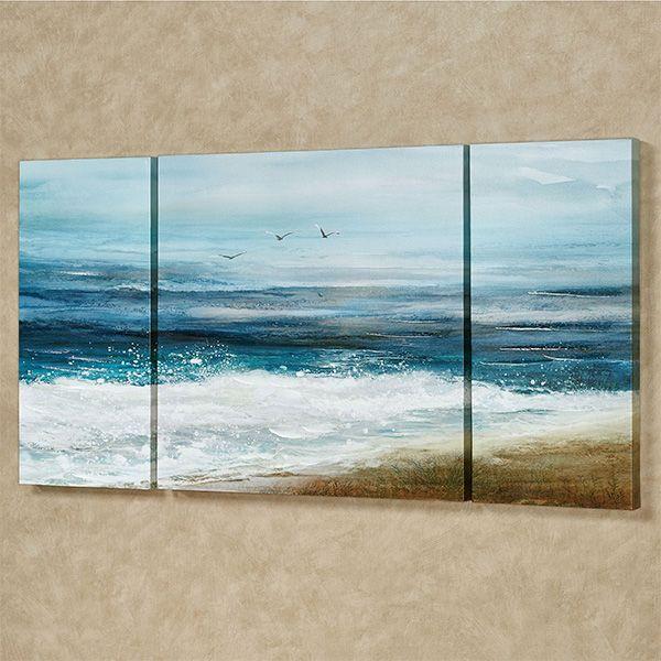 White Surf Coastal Triptych Canvas Wall Art Set Multi Canvas Painting Triptych Art Canvas Wall Art