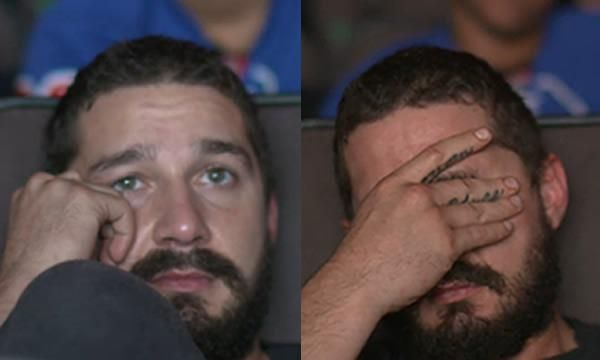 Shia LaBeouf face palmed so hard while watching the Transformers. - 9GAG