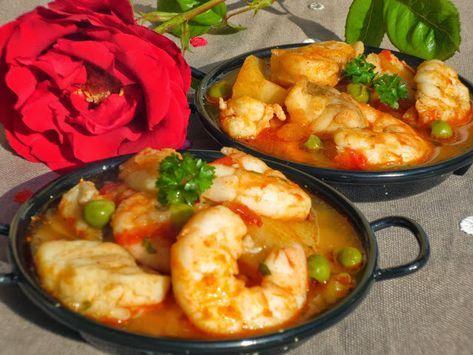 Delicioso guiso: Caldereta de rape y langostinos , cocina tradicional , fácil y sano como pocos platos!