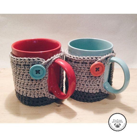 Handmade crochet covered mug cozy от ZoZooCrochet на Etsy