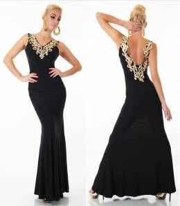 Βραδινό μάξι φόρεμα με υπέροχη πλάτη-μαύρο