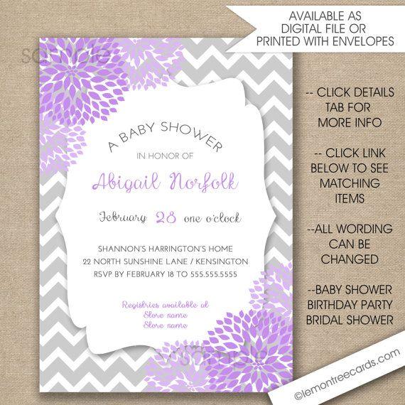 Ordinary Lavender Baby Shower Invitations Part - 5: Lavender Baby Shower Invitations FREE SHIPPING By Lemontreecards