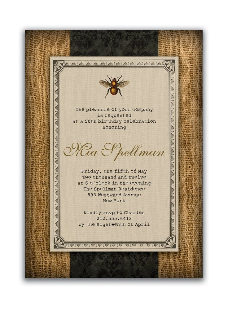 cheap0th wedding anniversary invitations%0A Rustic Bee Birthday Invitation Vintage Bridal Shower Invitation Autumn Wedding  Invitation Burlap Damask DIY Digital Printed  Mia Collection from  Digibuddha