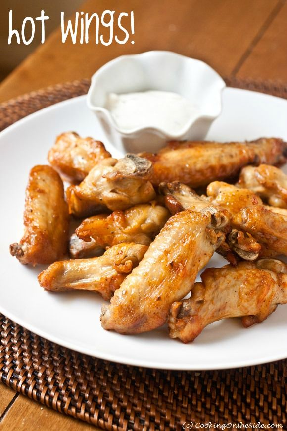 Air-Fried Hot Wings ...get the #recipe at www.cookingontheside.com (c) Kathy Strahs #superbowl