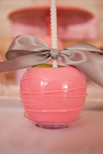 Beautiful pink caramel apples from a Ballerina Birthday Party! See more party ideas at CatchMyParty.com!