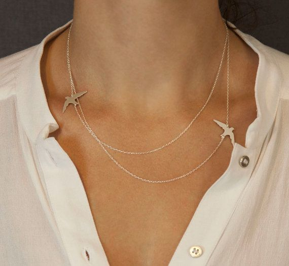 PRE-Order: Gold or Silver Layered Necklace with Bird Silhouettes  //  Silver or Gold Bird Necklace  //  FLIGHT PATH Necklace on Etsy, 290:34kr