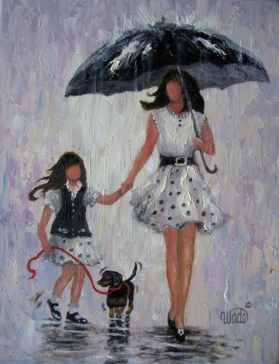 Rain Girls Original Oil Painting