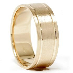 Brushed 8MM Flat Comfort Fit Solid 14K Yellow Gold Mens Wedding Ring Band 7-12