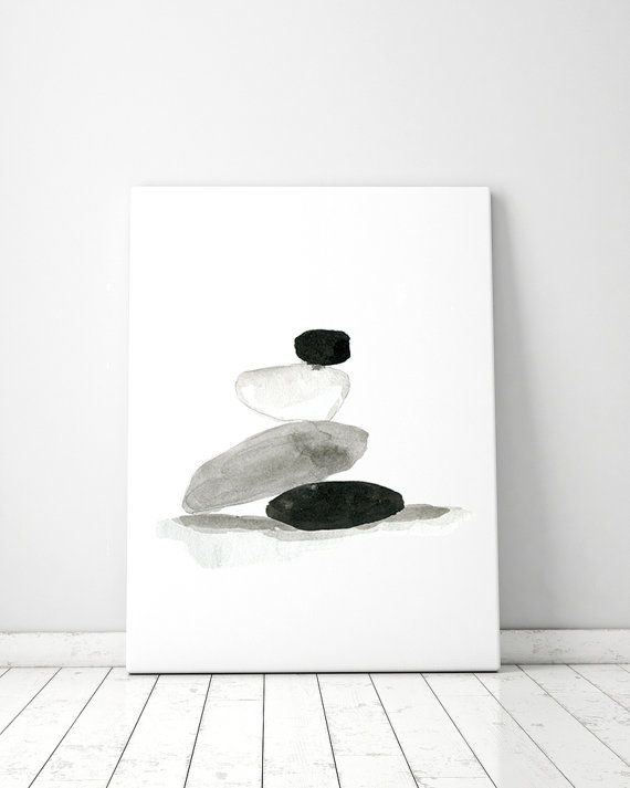 Zen kunst  giclee print  aquarel zen steentje zwart wit door ZenInks