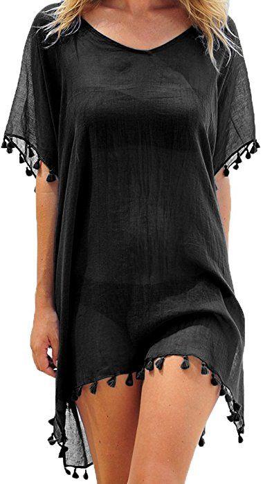 c357a68436 Adreamly Women s Stylish Chiffon Tassel Kaftan Swimsuit Beachwear Cover up  Free Size Black at Amazon Women s Clothing store