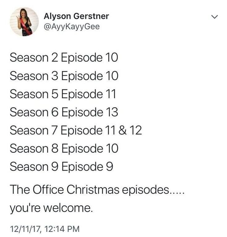 All The Christmas Episodes From The Office The Office Office Memes The Office Show