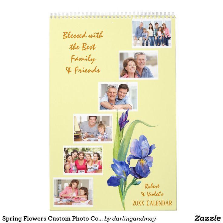 Spring Flowers Custom Photo Collage Yellow 2021 Calendar Zazzle Com Flower Arrangements Simple Spring Flower Arrangements Diy Crafts How To Make