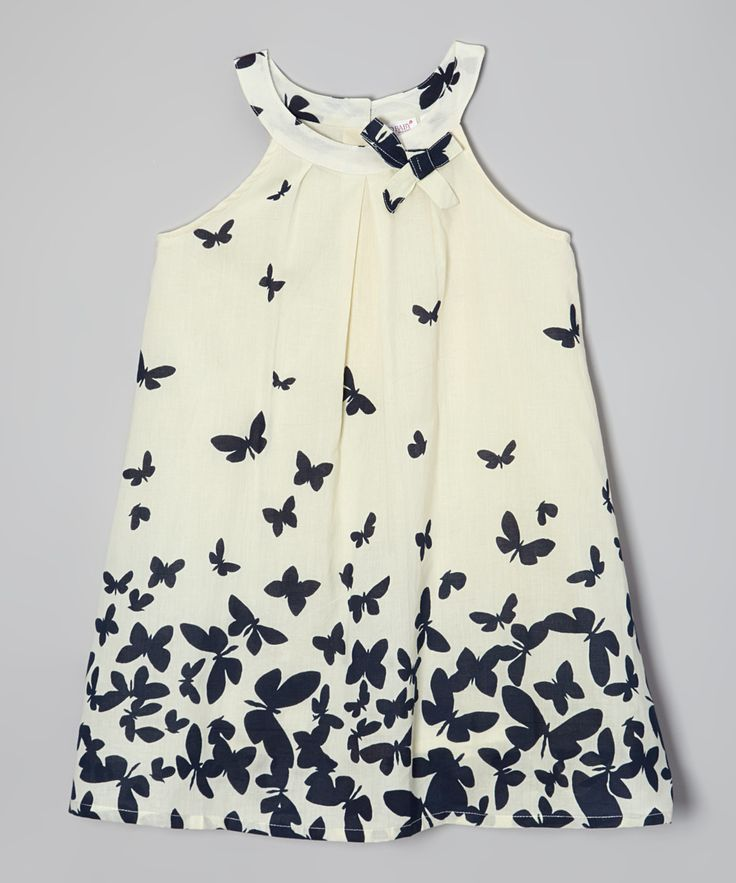 White & Navy Butterfly Yoke Dress - Toddler & Girls | zulily