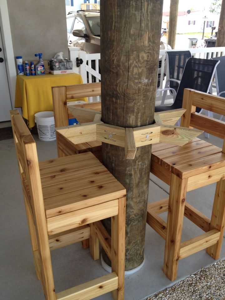 Bar Table Support Mounted to Wooden Post