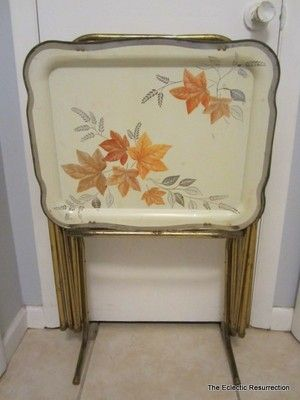 Vintage TV Tray Tables Stand Vintage 1950s MID Century SET OF 4 | EBay