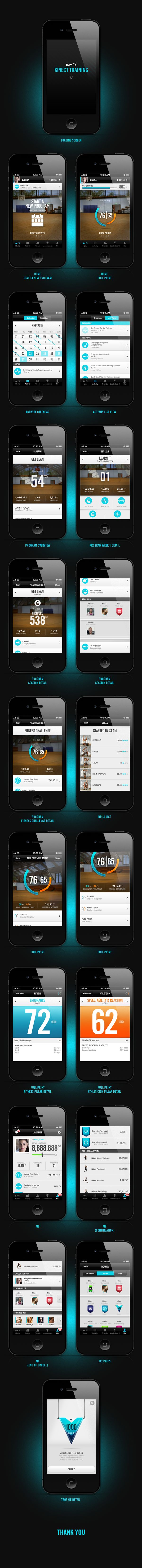 Nike+ Kinect Training (iphone app) by João Planche, via Behance