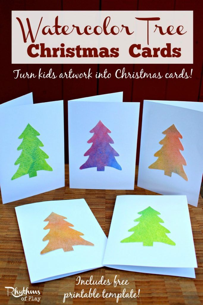 Homemade Watercolor Christmas Tree Cards | Learning~Craft ...