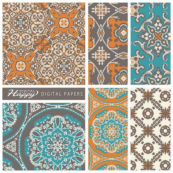 """Documents numériques, Pack de papier Scrapbook numérique (12 x 12""""-300 dpi)--6 papiers de Digital--Maroc - DP-013"""