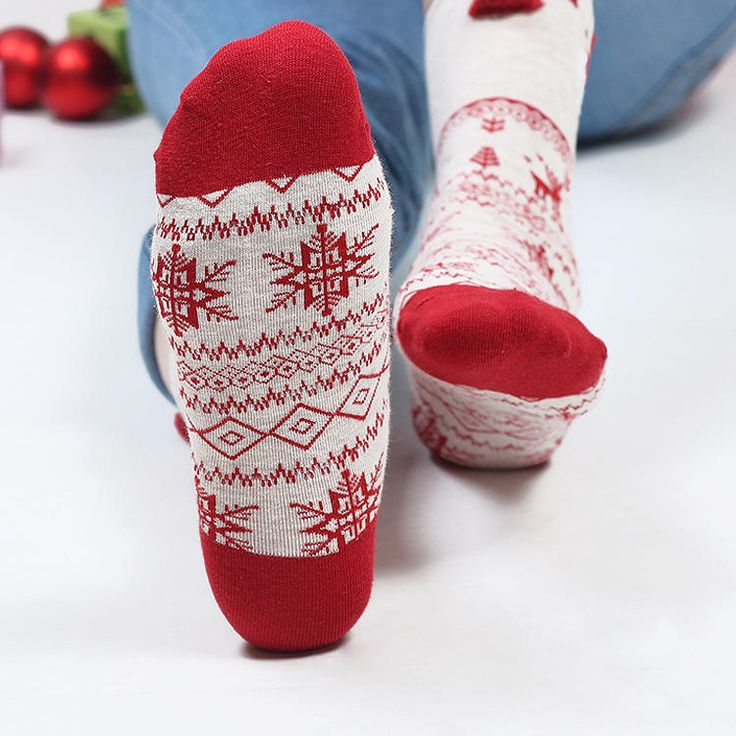 Women Cute Christmas Elk Cotton Socks Warm Soft Middle Tube Socks at Banggood