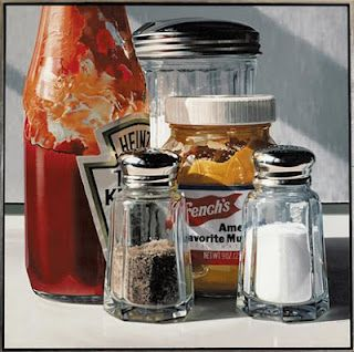 Ralph Goings a photo realistic artist that makes his paintings so accurate and detailed that they definitely look realistic and three dimensional for my final piece I want to achieve the  look of realistic objects like ralph goings. did