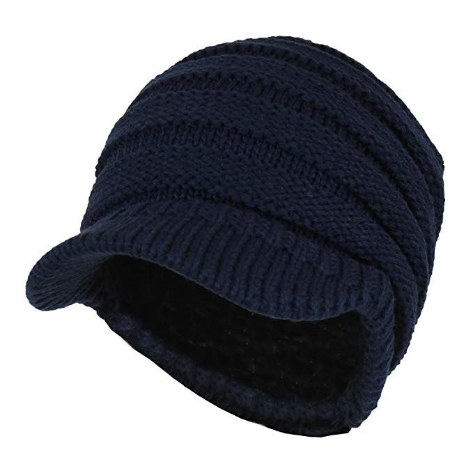 6122df99730 Warm Cable Ribbed Knit Beanie Hat w  Visor Brim – Chunky Winter Skully Cap  Review
