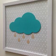 Tableau nuage turquoise décoration chambre enfant bébé