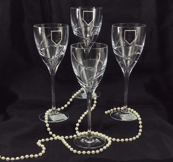 Details About Lenox Adorn Crystal Wine Glasses Set Of 4 Cut Swirls Smooth Stem 8 Clear New