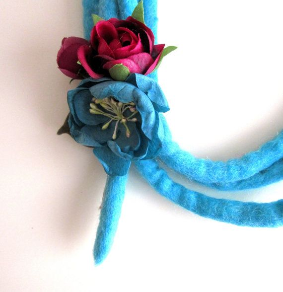 Felt Necklace Wool Necklace Statement Blue by catyflowerpower