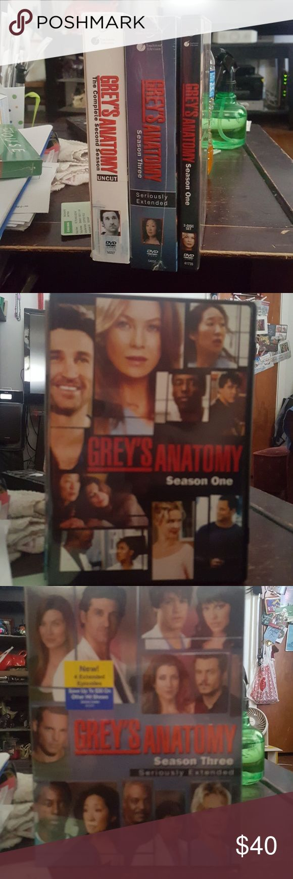 Grey's Anatomy No, not actually Meredith Grey or her anatomy; however, I do have the first 3 seasons on DVD with all the beauty and delight of McDreamy & McSteamy, and all the drama that precedes them and follows them. Season 3 has never been removed from the original shrink wrap. And they can happily be yours for a small fee. 😊 These are listed as a set, but I am willing to sell them separately. Feel free to make an offer, but please be fair and respectful! Other